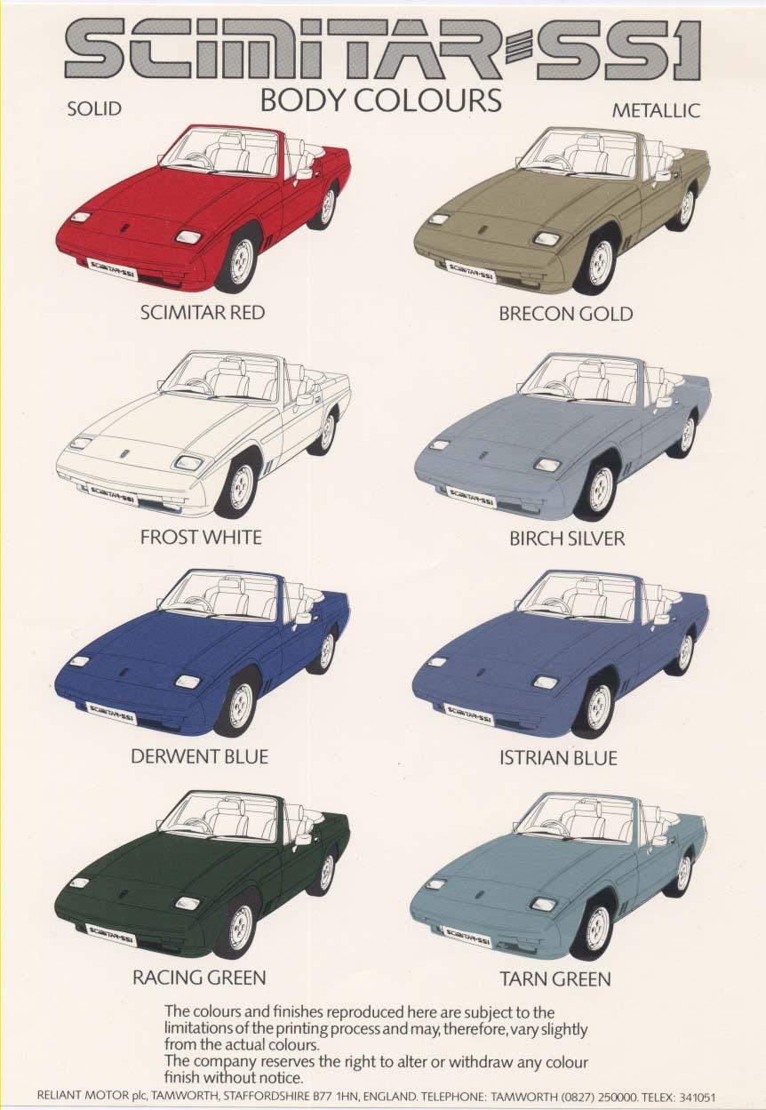 Car colour codes - Re Reliant Paint Codes