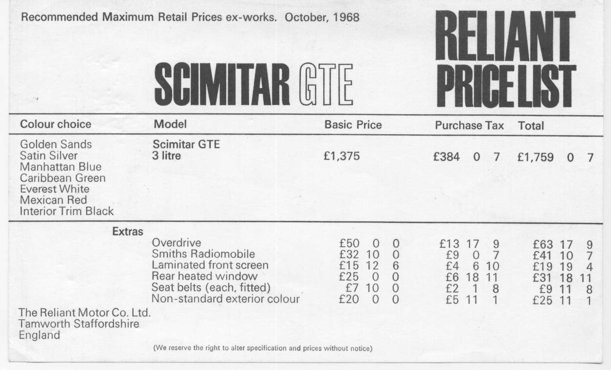 Reliant paint codes with ICI ref - Page 9 - The Scimitarweb